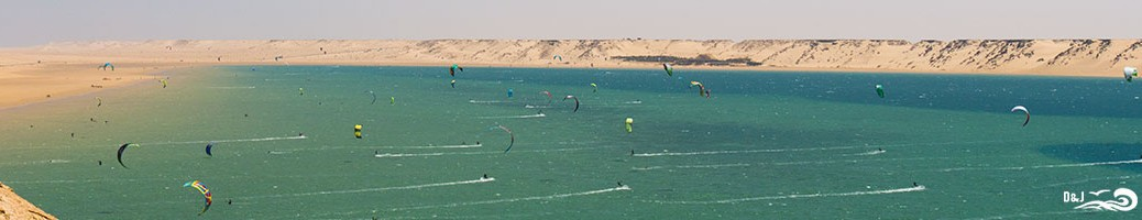 Kitesurfs dans la lagune de Dakhla