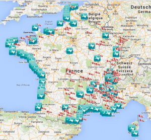 carte interactive des spots de kitesurf de la FFVL